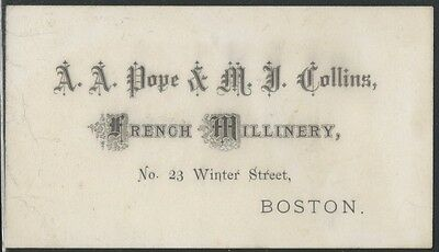 1870s Boston French Millinery Dealer Card - Dress Fashion Store