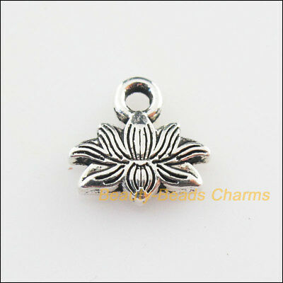 12Pcs Tibetan Silver Tone Flower Lotus Charms Pendants 10x11mm