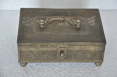Old Brass Jali Cut Big Handcrafted Solid Heavy Jewellery Box, Collectible