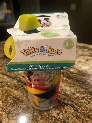 3PC Disney Mickey Mouse First Years Take Toss Sippy Cups 10oz w/ Travel Cap 9m+