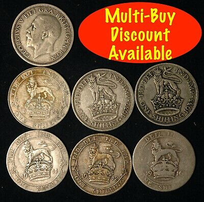 Shilling George V 1911  -  1927 Silver Choose your Date