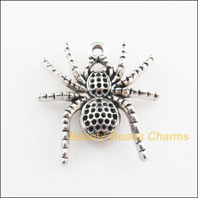4Pcs Tibetan Silver Tone Animal Spider Charms Pendants 25x26mm