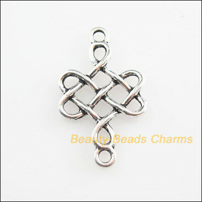 5Pcs Tibetan Silver Tone Flower Chinese Knot Charms Connectors 18x31mm