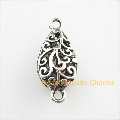 2Pcs Tibetan Silver Tone Flower Teardrop Charms Connectors 13x29mm