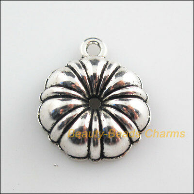 4Pcs Tibetan Silver Tone Halloween Plant Pumpkin Charms Pendants 20x24mm