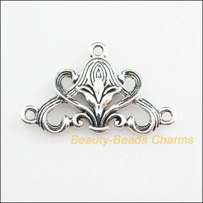 4Pcs Tibetan Silver Tone Triangle Flower Charms Connectors 20x31mm