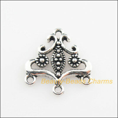 10Pcs Tibetan Silver Tone Triangle Flower Charms Connectors 19.5x21mm