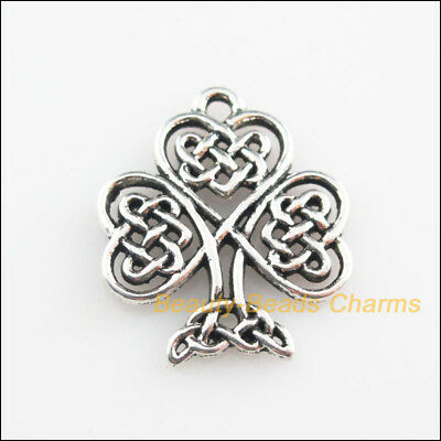 4Pcs Tibetan Silver Tone Heart Chinese knot Tree Charms Pendants 19x23mm