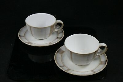 Two 2 Denby Stoneware Truffle Layers Cups & Saucers