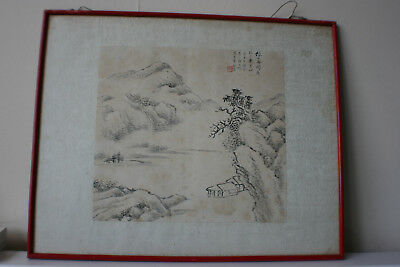 Chinese Landscape Ink & Watercolour Painting on Rice Paper - Signed Framed #4/2