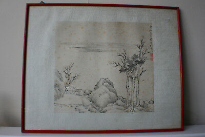 Chinese Landscape Ink & Watercolour Painting on Rice Paper - Signed Framed #4/4