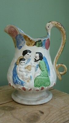SUPERB 19thc EARLY STAFFORDSHIRE JUG WITH NATIVITY & St. PETER IN RELIEF  C.1830
