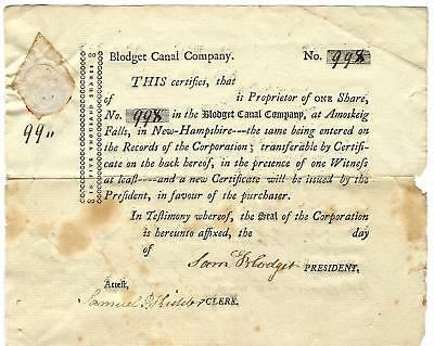 1800 era SAM BLODGET SIGNED - #d BLODGET CANAL COMPANY STOCK CERTIFICATE