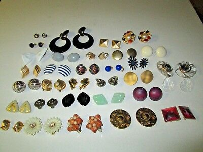 Lot Of 31 Pairs Vintage Estate Clip On Earrings
