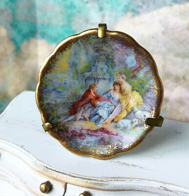 Antique Miniature LIMOGES Plate DOLLHOUSE FRANCE Signed 18th Century plate stand