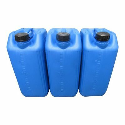 3 X 25 Litre 25L New Plastic Bottle Jerry Can Water Container Blue Heavy Duty
