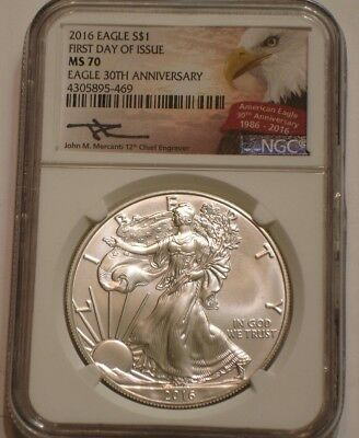 2016 American Eagle Silver Dollar NGC MS 70 Signed JOHN MERCANTI First Day Issue