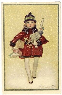 CHRISTMAS GIRL by Bompard Postcard c 1918 Walking in Snow Presents