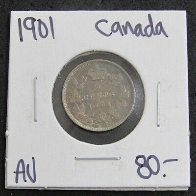 1901 Canada AU Five Cent Silver Coin