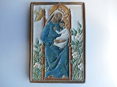 "Antique Delft ( England ) Poly-chrome Tile Madonna & Child 5-13/16"" by 3-15/16"""