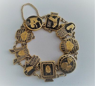 Superior Vintage Art Deco Egyptian Revival Gold & Black Damascene Bracelet