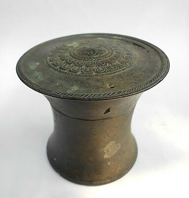 From Antiquity:  small lidded BRONZE BOX/JAR-ornate age-origins unknown.
