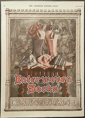 1927 Ad Interwoven Socks The Largest Manufacturer of Men's Hosiery  Great Stuff!