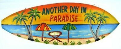 Parrot Another Day Paradise Wood Buffett Sign Wall Tiki Bar Tropical Island Pool