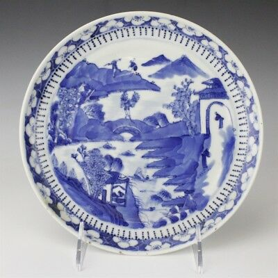 Antique Chinese Export Porcelain Blue & White Scenic Mountain Canton Plate SMS