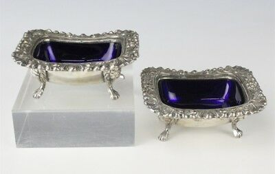 Pair English Sheffield Silver Plate Repousse Footed Master Salt Cellar Dips EDP