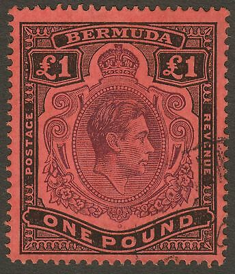 Bermuda 1943 KGVI £1 Dp Red Purple and Black on Pale Red p14 Used SG121c cat £75