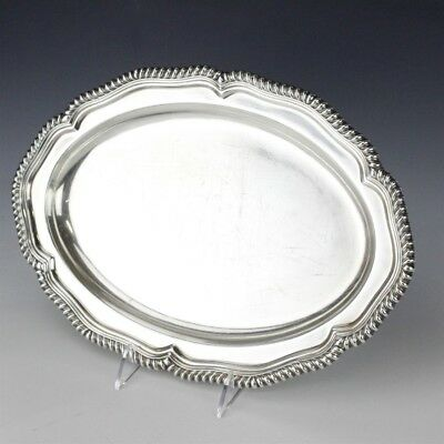 """Signed TIFFANY & CO Silver Soldered 14"""" Oval Gadroon Edge Serving Platter NR EDP"""