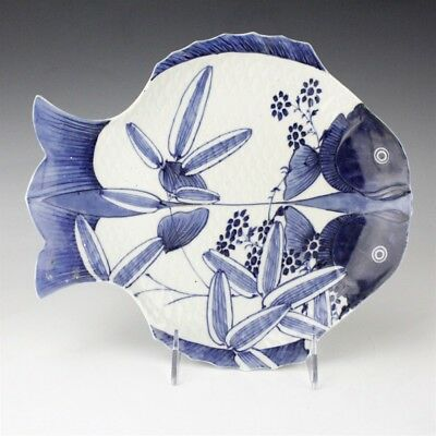 Vintage Japanese Porcelain Blue & White Hand Painted Double Fish Plate NR EDP