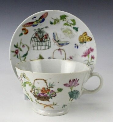 Chinese Export Porcelain Famille Rose Butterfly Cage Floral Teacup Saucer NR EDP
