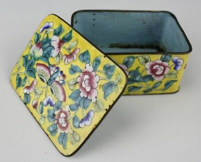 Vintage Chinese Export Imperial Yellow Polychrome Enameled Floral Butterfly EDP