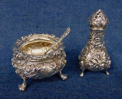 Stieff Kirk Sterling Rose Repousse Salt Cellar,Spoon Pepper Tower 11oz Macdonald