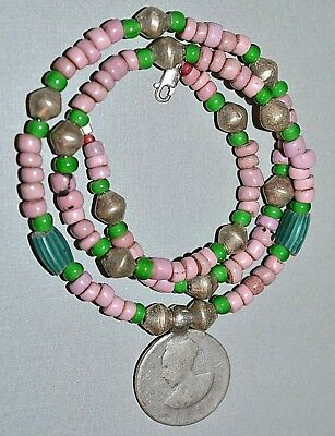 Antique Haile Selassie Coin Amulet Necklace European Massi African Trade Beads
