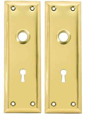 Kaba Ilco Pair Of Brass Plated New York Style Back Plates With Keyhole 213-04-51