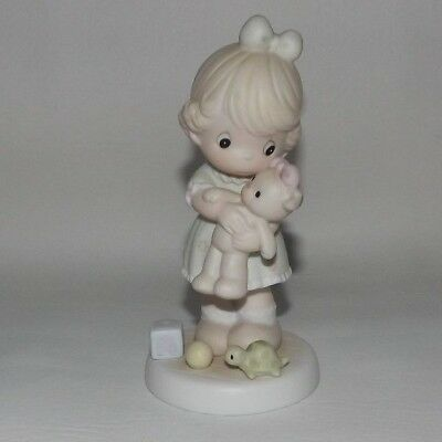 Precious Moments Loving Figurine Girl With Teddy Bear Butterfly  1993 - PMB1