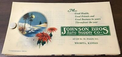 Blotter Celluloid Cover Johnson Brothers Auto Supply Wichita Kansas 1926