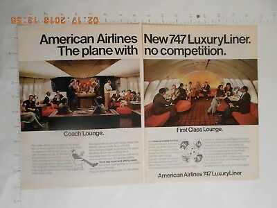 1971 American Airlines 747 Luxury Liner airplane RARE AD Rolex Chronometer watch