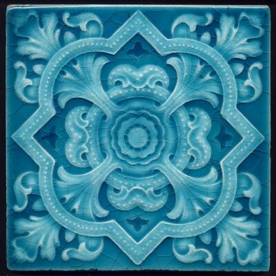 TH3370 Superb Turquoise Victoriana Embossed Majolica Tile Cleveland c.1905