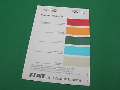 Farbkarte Color Charts FIAT 850 Sport-Spider Cabrio 1968 / paint chips Oldtimer