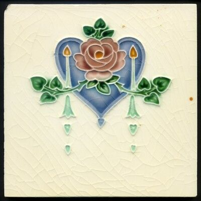 TH3078 Blue/Purple Heart Pink Rose Art Nouveau Majolica Tile Lea & Boulton