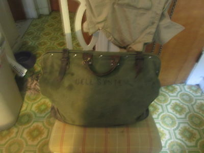 Antique 1940,s Bell Systems Leather And Canvas Tool Bag