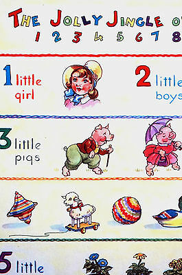 Pair of Children's Prints COUNTING NUMBERS 1956 Vintage Illustration Art Matted
