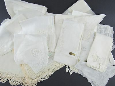 Beautiful 24  Vintage White and Off-white Handkerchief Lot