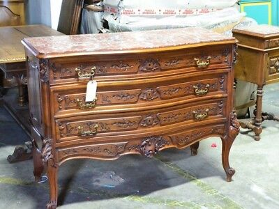 Antique French Chest Dresser In Louis XV Style Walnut With Marble Top