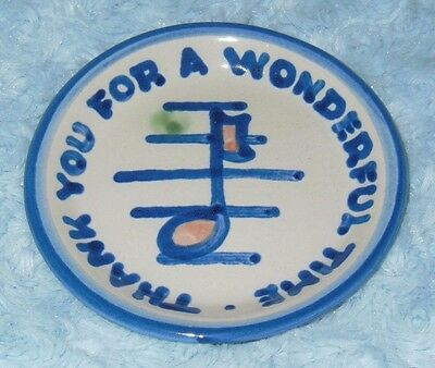 M.A. Hadley Pottery Mini Plate - Thank You For A Wonderful Time Musical Note VGC