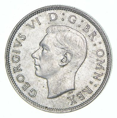 Roughly Half Dollar Size 1943 Great Britain 2 Shillings - Silver Coin 11.3g *434